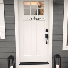 """Greet your neighbors and friends with a simple, yet elegant """"Welcome"""". This vinyl decal is sure to put a smile on any visitors face.  Front Door Vinyl Decal: """"Welcome""""  Welcome Door Decal  Front Door Decal  Welcome Vinyl Decal  D024 Front Door Sticker  Front Door Vinyl Decal  Welcome Door Sign"""