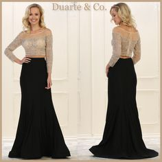 RQ7589  $278.00  Stunning 2 Piece Party Dress has hand beaded sequin & rhinestone embroideries over mesh material top & long skirt starch Ity material.  Available in sizes 4 up to 16.  *Free Priority Shipping*