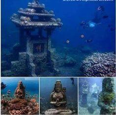 """""""Global Hinduism"""". Amazing underwater Hindu Tmpl, Pemuteran, Bali (Indonesia). Ths tmpl is located deep within ocean."""