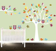 Unisex Nursery Owl Wall Decal forest Tree Birds Owls Nursery Tree decal red green by BeautifulWalls on Etsy https://www.etsy.com/listing/204867366/unisex-nursery-owl-wall-decal-forest