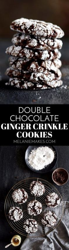 These six ingredientDouble Chocolate Ginger Crinkle Cookies take just 20 minutes from mixing bowl to you enjoying them with a tall glass of milk. A dark chocolate cake mix is studded with miniature chocolate chips and spiced with ground ginger. The perfect holiday flavor combination - perfect for cookie exchanges!