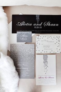 Silver and white polkadot invite suite. Wedding Paper Divas. Photography by Tana Photography / TanaPhotography.com