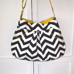 Hobo Bag, Purse, Hobo Hanadbag, Baby Diaper Bag, Tote, Black and White Chevron, Yellow Accents with 2 Deep FRONT Pockets, Many Colors