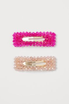 Hair Clips with Beads - Gold-colored/powder pink - Ladies Style Personnel, Pink Art, H&m Gifts, Hat Hairstyles, Fuchsia, Fashion Company, World Of Fashion, Lady, Hair Clips