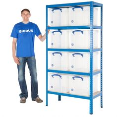 Buy Value Bay With 35 Litre Really Useful Boxes from BiGDUG. Experts in Shelving. Kids Storage, Shed Storage, Garage Storage, Storage Boxes, Storage Ideas, Garage Shelving, Shelves, Industrial Shelving, Industrial Racking
