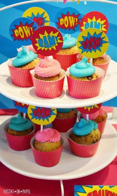 Superheroes Birthday Party cupcakes! See more party planning ideas at CatchMyParty.com!