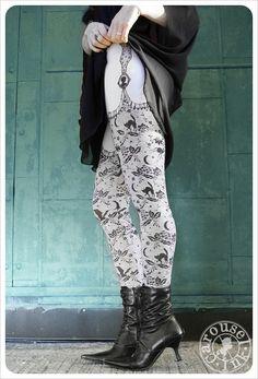 Grey  Legging - Womens Legging - garter legging - Legwear - Halloween original ART