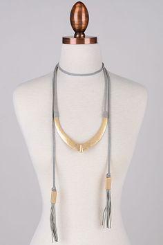 Large Metallic Pendant Suede Cord Choker. - Necklaces