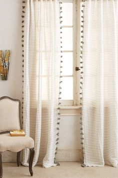 Reise Curtain - anthropologie.com railroaded stripes PLUS pompoms