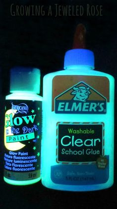 This glow in the dark glue costs under two dollars to make and there are so many fun ways to use it! A squirt of glow paint from Michaels in clear glue. Make designs on wax paper to make glow window clings Fun Crafts, Diy And Crafts, Crafts For Kids, Arts And Crafts, Glow Crafts, Foam Paint Brush, Glow Paint, Glow In Dark Paint, Hallowen Ideas