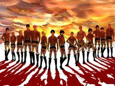 Ymir, Historia, Annie, Bertholdt, Reiner, Armin, Eren, Mikasa, Connie, Jean, Sasha, Hanji, Levi, and Erwin from Attack on titan❤️