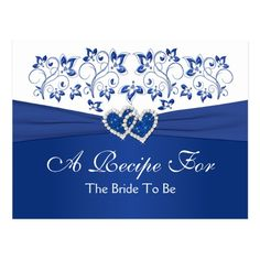 Royal Blue, White Floral Hearts Recipe Card