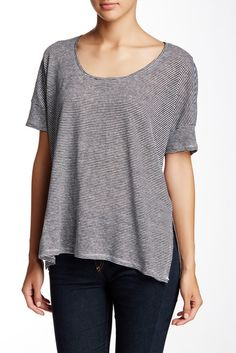 Boxy Scoop Neck Linen Tee