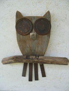 Owl+wall+hanging+recycled+wood+rusty+metal+eyes+by+lazydazefarm,+$26.00: