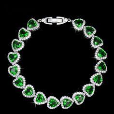 Emerald Heart Shaped Tennis Bracelet