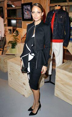 Nicole Richie is ravishing in a ruffled H. stern dress at Paris Fashion Week.