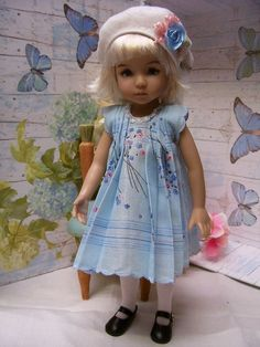 """Effner Little Darling Old Fashioned """"Paris""""  Hanky Dress and Embroidered Hat"""