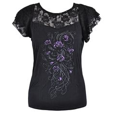 Spiral Direct Entwined Lace Top (Black)