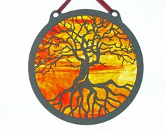 Tree of Life stained glass and wood hanging decoration