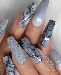 Amazing grey coffin shaped nails with marble, glitter, and ombre grey nails for inspiration! : Amazing grey coffin shaped nails with marble, glitter, and ombre grey nails for inspiration! Acrylic Nails Coffin Short, Coffin Shape Nails, Fall Acrylic Nails, Wedding Acrylic Nails, Grey Nail Art, Gray Nails, Glitter Ombre Nails, Coffen Nails, Coffin Nails Glitter