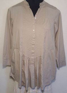 Chicos 2 Button Tunic L Long Sleeve Tan Semi 97% Cotton Solid Pleated Shirt  #Chicos #ButtonDownShirt