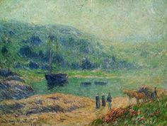 Creek en Bretagne, huile sur toile de Henri Moret (1856-1913, France)