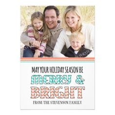 Merry & Bright Photo Card Coral Aqua Chevron  Click on photo to purchase. Check out all current coupon offers and save! http://www.zazzle.com/coupons?rf=238785193994622463&tc=pin #cards #holidays #christmas  #christmascards #photos #photocards #believe #greetings #holidaycards  #xmas #xmascards #greetingcards #personalized #customized