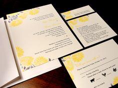 Bright as the Sun Custom Color Wedding Invitation Daisy Sunflower Yellow Summer Spring Fall Unique Simple