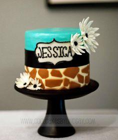 Teal and Giraffe Cake