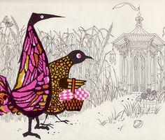 Deels gekleurd, deesl alleen lijnen. Door kleur focus op hoofdzaak, hierdoor niet te druk. Goede techniek! The Birds by James and Ruth McCrea (1968).