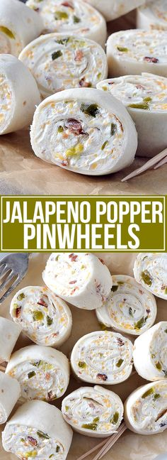 Jalapeño Popper Pinwheels An easy recipe for Jalapeño Popper Pinwheels filled with cheese, diced jalapeños, and crumbled bacon. Perfect for a snack, lunch or appetizer! 2 packages (8 oz each) cream cheese (softened) 1 cup shredded cheddar cheese 1/3 cup jarred jalapeño slices, diced 1/4 cup crumbled bacon 1/2 teaspoon garlic powder pinch of salt and pepper 4-5 8-inch flour tortillas Add all ingredients except tortillas to a large bowl. Using an electric mixer beat on low until creamy. Season wit