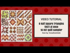 Beginners learn to make half square triangles 8 at a time and then watch how two sets of 8 HST are turned into an amazing array of 16 different blocks.