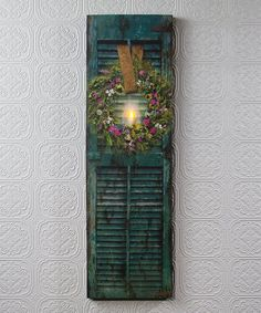 Enhance indoor décor with this light-up shutter canvas that adds realistic deta. - Enhance indoor décor with this light-up shutter canvas that adds realistic detail and textural dim - Decor, Herb Wreath, Shutter Decor, Diy Shutters, Ladder Decor, Shutter Wall Decor, Indoor Decor, Green Shutters, Radiance Lighted Canvas