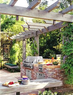 Whether you covet a grill and food-prep station on wheels or a built-in BBQ island with fridge and bar seating, don& hit the home center before reading TOH& expert guide to creating a first-rate backyard cook spot Outdoor Kitchen Countertops, Outdoor Kitchen Bars, Outdoor Kitchen Design, Outdoor Kitchens, Pergola, Outdoor Spaces, Outdoor Living, Outdoor Ideas, Brick Bbq