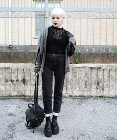 Get this look: http://lb.nu/look/8757267 More looks by Thelma Malna: http://lb.nu/thelma Items in this look: 2nd Hand Cardigan, Kappahl Blouse, Gina Tricot Belt, Lindex Jeans, H&M Backpack, Underground Triple Sole Creepers #edgy #grunge #vintage