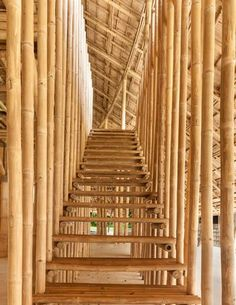 Chiangmai Life Architects and Construction modelled the segmented and undulating roof of this bamboo sports hall at a school in Chiang Mai in Thailand on the petals of a lotus flower. Bamboo Art, Bamboo Crafts, Bamboo Architecture, Sustainable Architecture, Bamboo House Design, Bamboo Building, Thailand, Bamboo Structure, Bamboo Construction