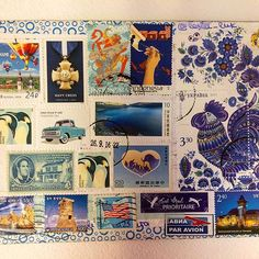Theme #blue 🚙🙆🏼♂️🐟🐳🌏. Traveling: USA▶️Ukraine ▶️Indonesia ▶️Taiwan.  Thanks all for the beautiful stamps!😍#chaincard #chaincardproject #chaincards #postcrossing #lesia_luk_chaincards