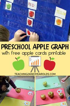 Looking for an easy apple math activity? Download the free printable cards and create a hands-on color graphing idea for circle time or small groups! #apples #math #printable #graph #colors #sorting #preschool #3yearolds #4yearolds #teaching2and3yearolds