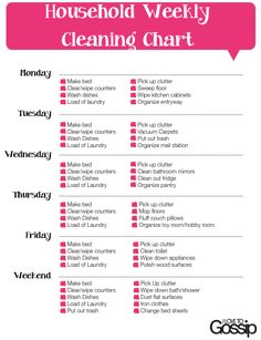 free weekly household cleaning checklist