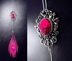 'Magenta Goddess' Brilliant bohemian 925. Sterling silver hot pink peacock feather necklace