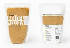 This package beautifully shows off the product. The large reversed type where the product is showing through uses the color and texture of the product to draw emphasis to it. Using only white, black, and a touch of yellow as the palette the designer created a bold contrast to competitors when placed on the store shelf.
