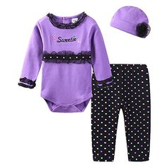 LittleSpring Baby Girls Pants Set Letters Leopard Dot Size 12M Purple >>> You can get more details by clicking on the image. (This is an affiliate link)