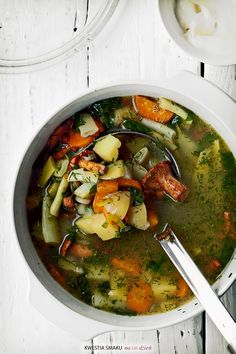 Vegetable Stew: Bean soup with chanterelles,  Click--Translate button-from Polish to English