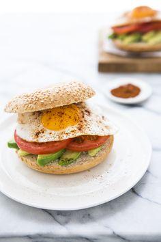 Chicken Schnitzel Sandwich with Tomato Avocado Salsa - baguette, avocado, tomato, lemon