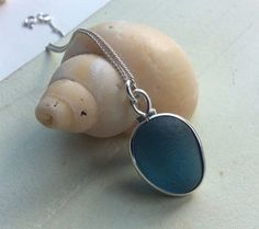 Blue Sea Glass Sterling Silver Necklace by SeahamWaves on Etsy, £25.00