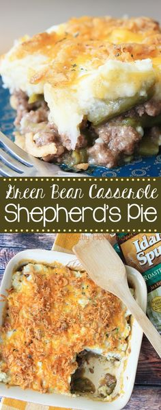 Green Bean Casserole Shepherd's Pie - the perfect holiday dinner mashup! AD Green Bean Casserole Shepherd's Pie recipe made with ground beef, green beans, cheesy mashed potatoes, and fried onions. Mashed Potato Casserole, Cheesy Mashed Potatoes, Green Bean Casserole, Beef Casserole, Tater Tot Casserole, Casserole Recipes, Casserole Dishes, Party Food Meat, Pie Recipes