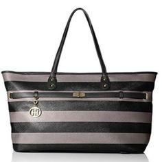 Tommy Hilfiger Black Gray Stripe Helen Tote Handbag Purse Pocket Book #TommyHilfiger #TotesShoppers