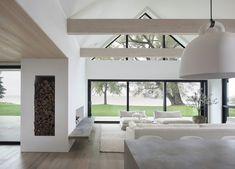Monochrome Interior, Gray Interior, Interior And Exterior, Interior Design, Timber Beams, Cabana, House Plans, New Homes, Living Room