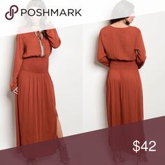 Rust & Cream Long Sleeve Boho Maxi Dress New with tags. Rust & cream long sleeve, yolk tie maxi dress with embroidery at the bust and sleeves, and a smocked waist.                                           100% rayon.                                                                  Made in USA.                                                                 PRICE IS FIRM UNLESS BUNDLED.                              ❌SORRY, NO TRADES. Boutique Dresses Maxi