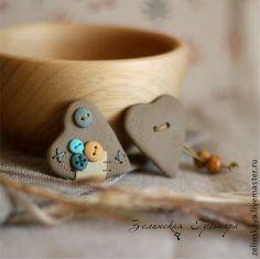 Броши ручной работы. Ярмарка Мастеров - ручная работа Теплые сердечки (2) Комплект брошей. Handmade.
